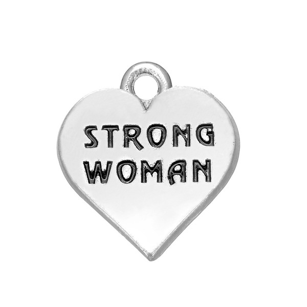 30PCS Fashion Charm Tibetan Silver Alloy Pendant Jewelry Letter STRONG WOMAN DIY Necklace Pendant Jewelry Accessories