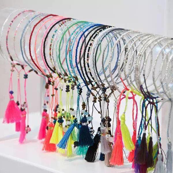 whole sale2017 Summer Handmade Tassel Colourful Women Seed  Friendship Bracelet Fashion Tassels Beach Bohemian Bracelets For Women