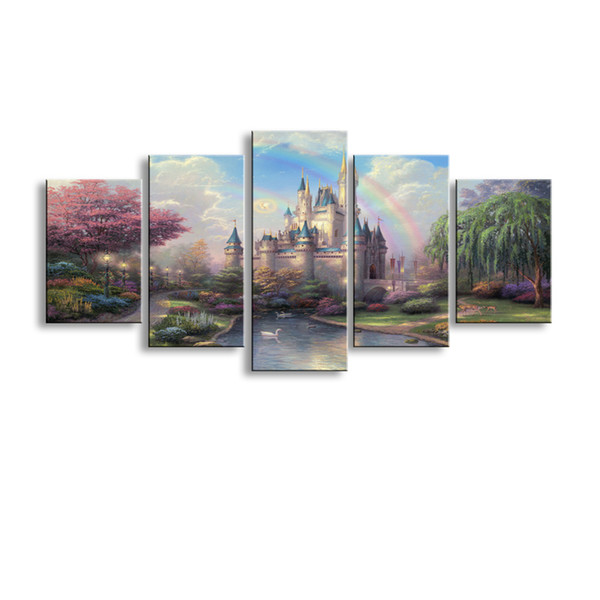 5 pieces high-definition print Fairy tale castle canvas painting poster and wall art living room picture HL-010