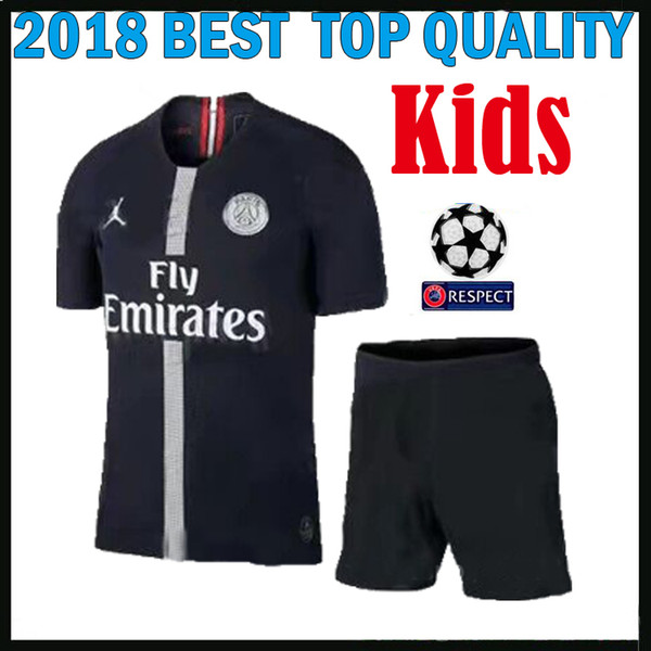 KIDS KIT 18 19 psg champions league soccer jersey Paris mbappe black 2018 2019 maillot de foot CAVANI PRE-MATCH Boys sets football shirts
