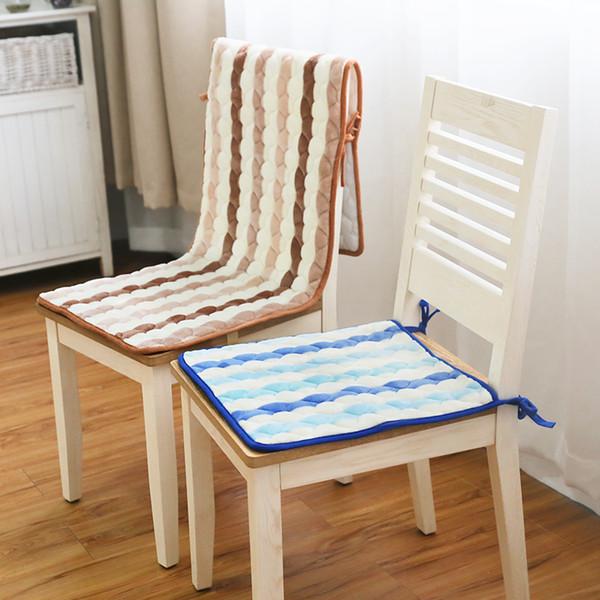 Stripe Seat Cushion chair Cushion Computer Chair One-piece Cushions Split Seat Mat Flannel Non-slip Chair Pad Storage bag