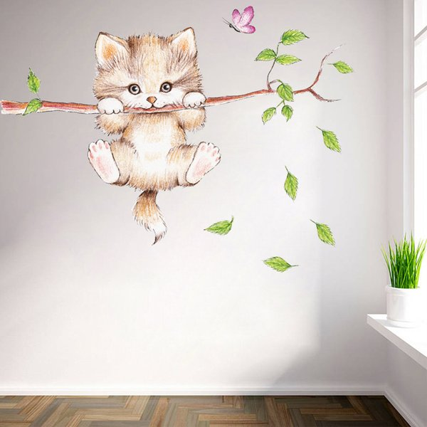 2018 New Cats Tree Branch Butterfly Switch Wall Sticker Bedroom Living Room Decoration Animal Art Sticker Wall Decals Art Poster
