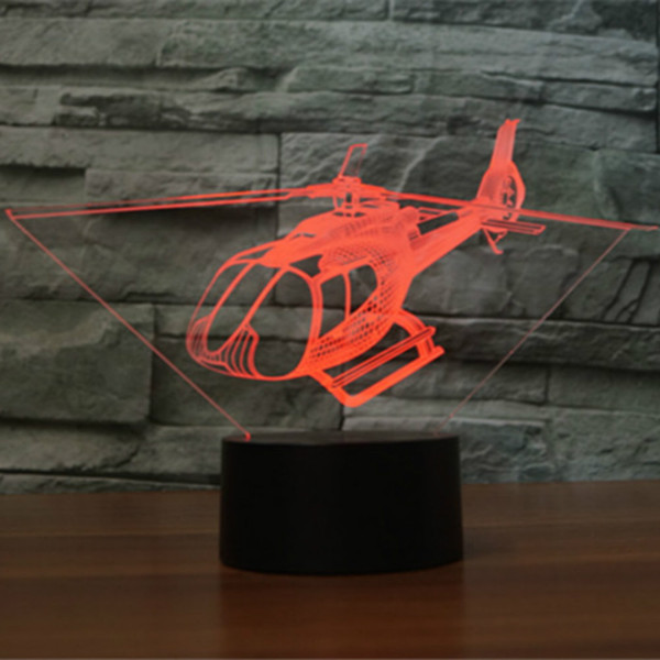Helicopt 3D Night Light LED Remote Touch Switch Airplane Table Lamp 3D Lamp 7 Color Changing USB Indoor Desk Lamp Wholesale Dropshipping