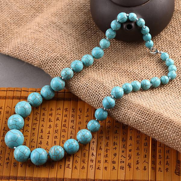 Los tamaños clásicos son diferentes turquesas redondas collar de cuentas Calaite piedra cadena collares mujeres Gargantilla declaración joyería DIY