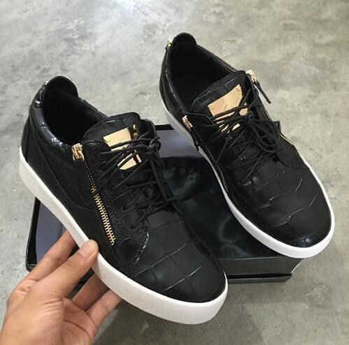 Hot vendas em estoque 2019 hot frete grátis dos homens das mulheres casual zanotty flat shoes sapatos de couro chegada zanotty homens mulheres sapatos gz19