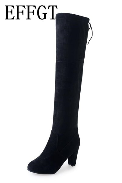 EFFGT 2019 Women Over The Knee High Boots Slip on Winter Shoes Thin High Heel Pointed Toe All Match Women Boots Size 34-43 V243