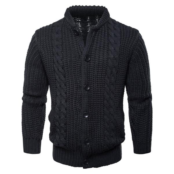 Alta calidad 2018 Winter New mens manga larga cuello alto suéteres casuales gruesos mens sweaters abrigos de punto prendas de vestir exteriores