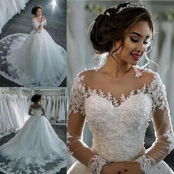 Luxo 2018 Vestidos de Casamento Modest País A-Line jóia Lace Applique Sweep Trem Tulle País Vestidos de Noiva Do Casamento