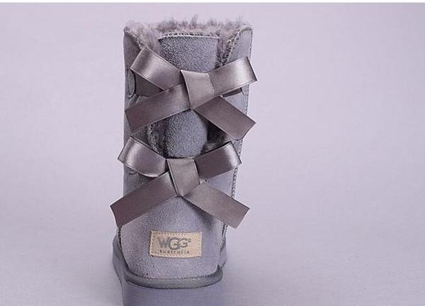 Дешевые зимние Австралия Классический дизайнер снегоступы хорошая мода WGG высокие сапоги натуральная кожа Bailey Bowknot женские bailey лук сапоги колено