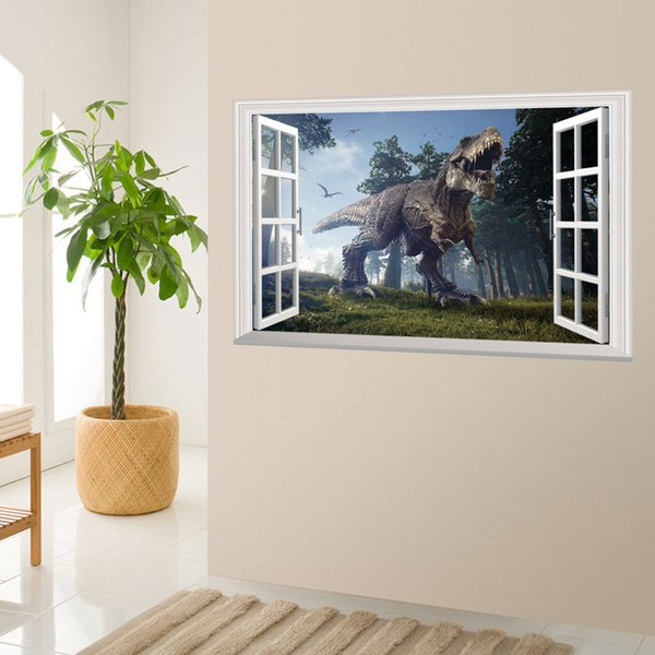3D Animals Dinosaur Window Wall Stickers Environmental Home Decor Sticker for Boy Living Room Free shipping