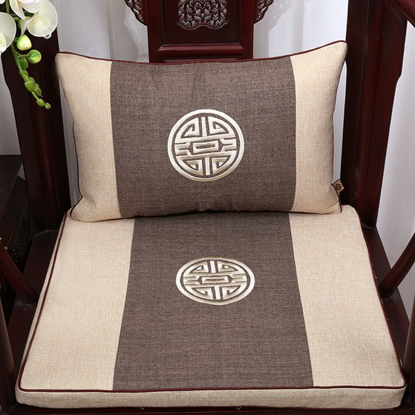 Thicken Embroidery Joyous Cotton Linen Seat Cushion for Sofa Chair Decorative Cushions Chinese style Lumbar Pillow Round-backed armchair Pad