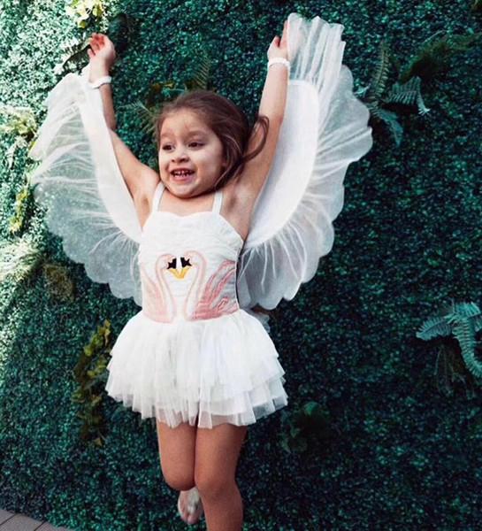 Baby girls swan wings dress children suspender princess dresses 2018 summer Boutique kids perform Dress Clothing MMA922