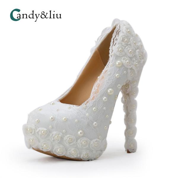 Sonbahar yeni Avrupa istasyonu yuvarlak kafa yüksek inci kristal ayakkabı dış ticaret için özel kadın ayakkabı toptan