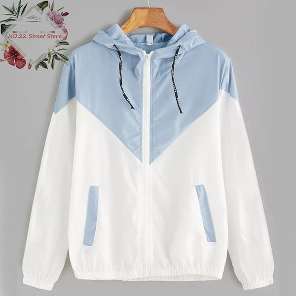 2018 nuevas mujeres con capucha de dos tonos chaqueta rompevientos remiendo chaquetas primavera otoño chaqueta de la cremallera abrigos ocasionales de las mujeres prendas de vestir exteriores