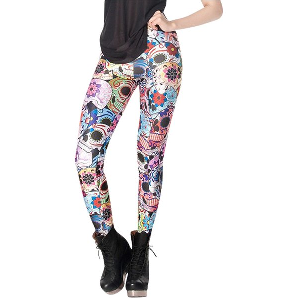 2017 Fashion Day Of The Dead Leggings Women Colorful Skull Printed Pants Fitness Casual Leggins S M L XL X-017