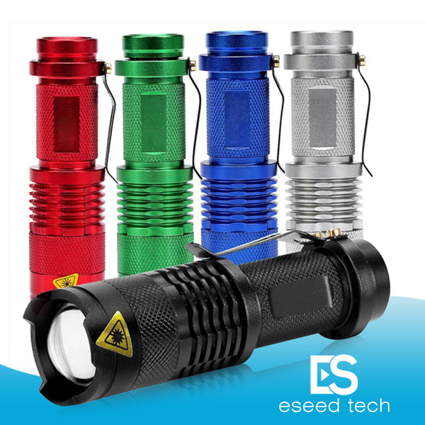 5 Colors Flash Light 7W 300LM CREE Q5 LED Camping Flashlight Torch Adjustable Focus Zoom waterproof flashlights Lamp