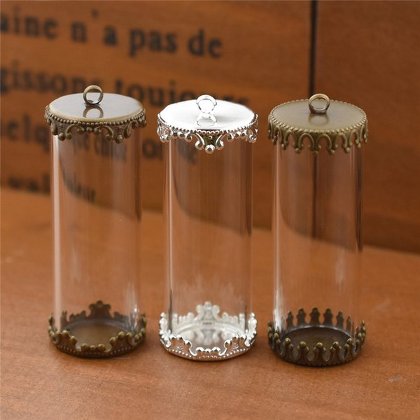 40X15mm hollow glass tube with setting base glass vials pendant glass bottle pendant globe jewelry findings jewelry making