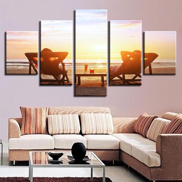 Modern HD Print Pictures 5 Panel Beach Chair Sunset Seascape Poster Modular Canvas Painting Wall Art Framework Living Room Decor