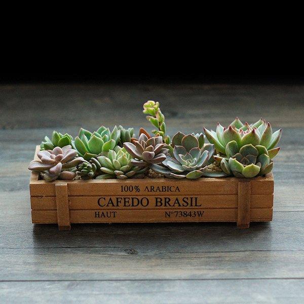 Vintage Wooden Boxes Crates Flower Pot Kitchen Trinket Desktop Storage Case Extraordinary Flower plant pot Garden Supplies