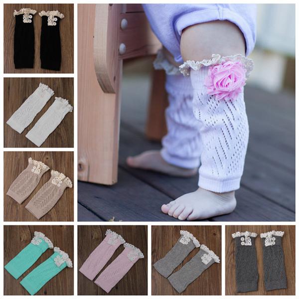 Spitze Beinlinge Baby Weihnachten Stiefel Socken Winter Warm Toddler Trim gestrickte Boot Manschetten Socken Abdeckungen Knee High Socks 7 Designs LDH161