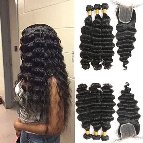 Paquets indiens lâches de vague profonde avec la fermeture 100% de faisceaux bruts de cheveux vierges brésiliens bruts péruviens crus non transformés avec la fermeture