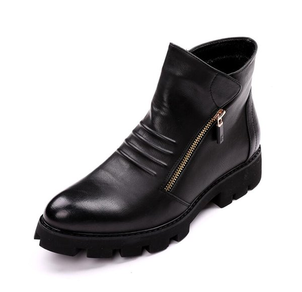 new fashion men boots zip up platform boots male party shoes thick heel gold zip ankle booties point toe leather boots men