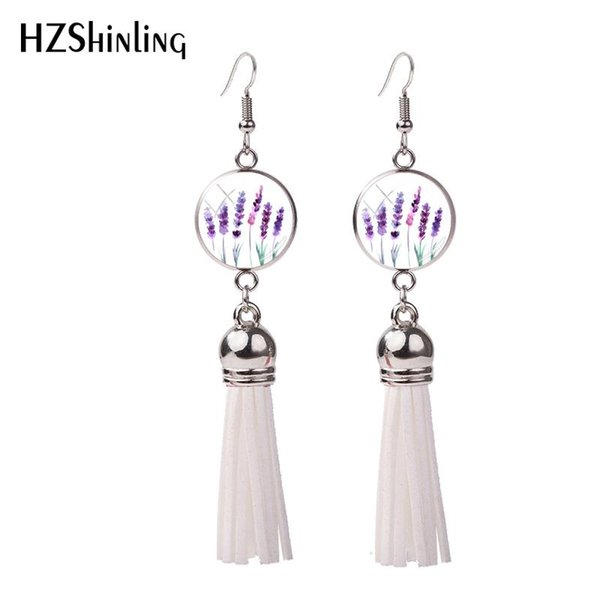2018 New Lavender Tassel Earring Lavender Blossoms Fish Hook Earrings Handmade Jewelry Glass Dome Are Photo Earbob NHE-0107