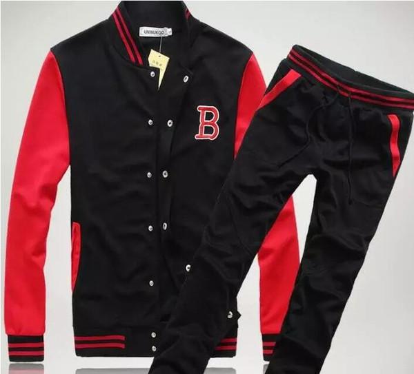 Toptan-Ücretsiz Kargo! Yeni Moda Erkek Spor Setleri Ter Takım Elbise Kore Stil Eşofman Beyzbol Ceket Hoodies / Tişörtü ve Pantolon