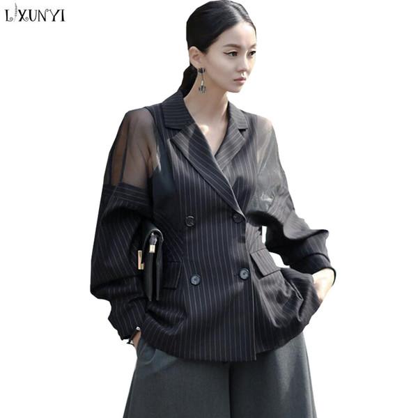 Striped Blazer Büro Mesh Fledermausärmel Jacke Size Feminino Frühling Von Großhandel Baiqian85 Zweireiher Damen 86 Frauen Casaco Plus 2EHIW9D