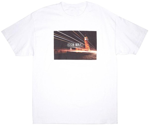 Primitive Skateboardinging Tower of London T-Shirt Men's Short Sleeve Top White tshirt new hip hop fashion free shipping 2018