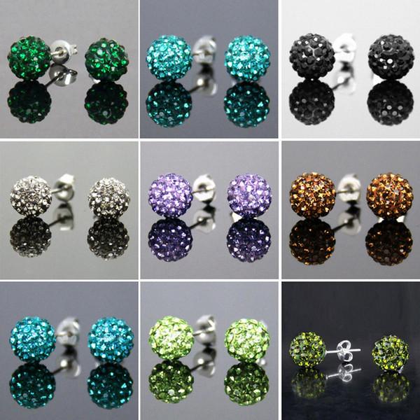 Küpe moda erkek damızlık 8mm / 10mm AB kil topları Kristal Kaplamalı Disco Ball Küpe Charms Karışık renk Ucuz Toptan