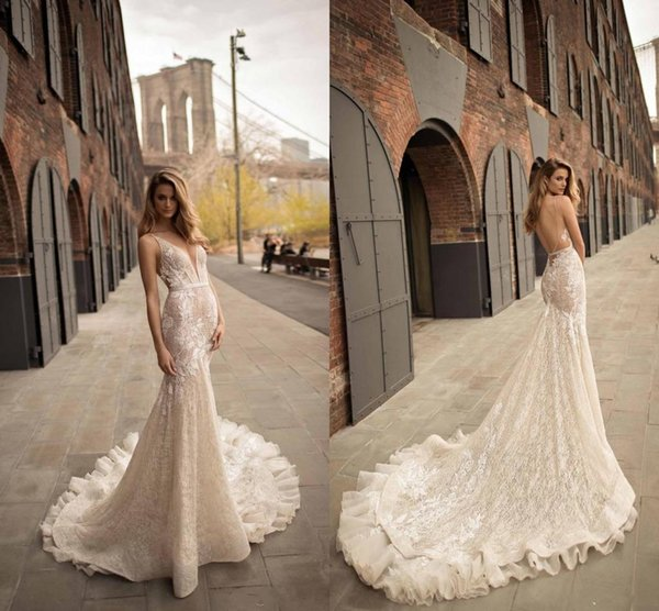 2018 Berta Mermaid Wedding Dresses Sexy Plunging V neck Backless Wedding Gowns Sweep Train Applique Lace Bridal Dress Custom Made