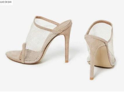 2018 new women air mesh high heels party shoes summer Peep Toe slide sandals Fishnet high heels Nude Faux Suede sandals