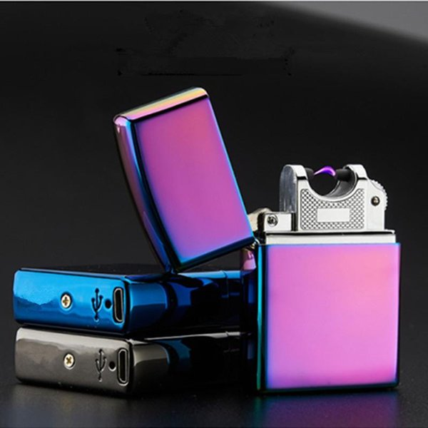 USB Lighter Electronic Cigarette Accessories Torch Pulsed Arc Lighter Windproof Thunder Metal Plasma Cigar Lighter c378