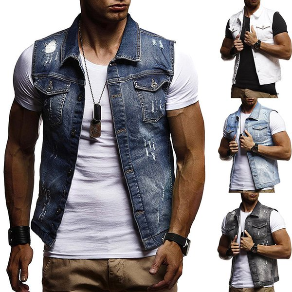 M-XXL Denim Vest Men's Jacket Sleeveless Casual Vintage Waistcoat Men's Jean Coat Ripped Slim Fit Male Jacket Cowboy