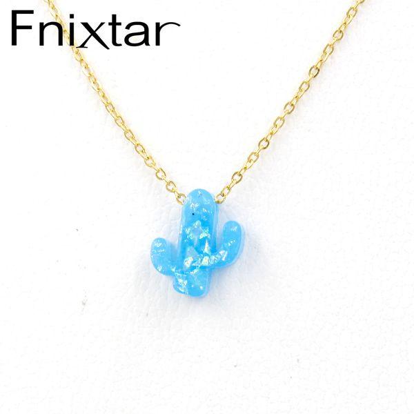 Fnixtar Stainless Steel Gold Chain Synthetic Opal Cactus Necklaces Opal Plant Pendant Choker Necklace 45cm+5cm 5Piece/lot