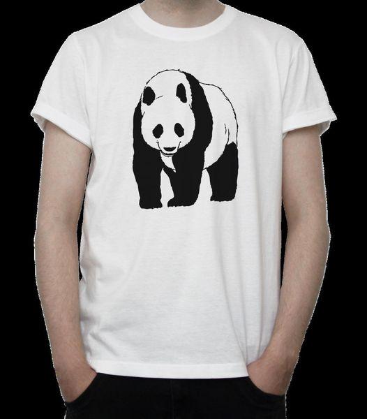 GIANT PANDA BW Drawing T-SHIRT Cute ANIMAL Bear BLACK Fur WILD China GREY White
