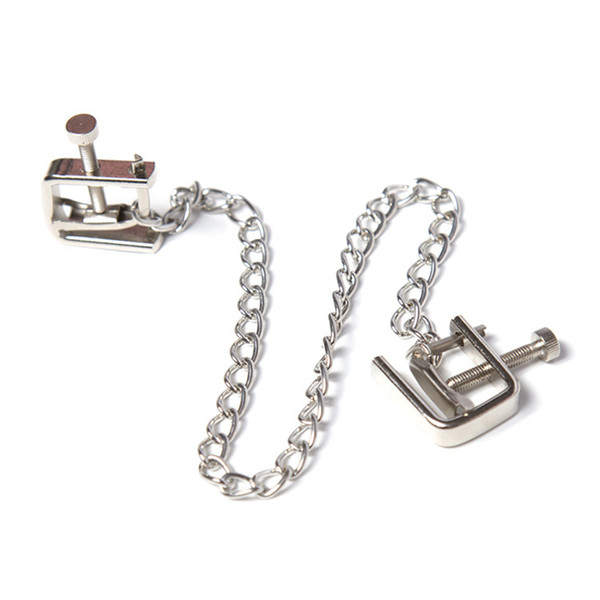 1PCS Metal Long Chain Nipple Clamps Unisex Sex Flirt Clips BDSM Bondage Kit Slave Pig Training Bondage Restraint Gear for Couple