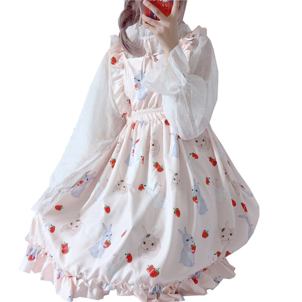 Japanese kawaii strawberry rabbit cute suspenders wood ear Dress + transparent chiffon sun protection shirt 2 Piece Set Women
