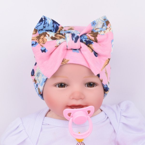 Bowknot Warm Hat Floral Print Baby Girl Hat with Bow Knitted Soft Bohemia Boy Top Bows Turban Infant Beanie Baby Cap
