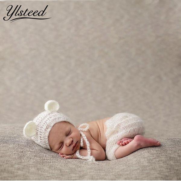 Baby Mohair Cap Pants Clothes Set Crochet Bear Ears Hat Newborn Photography Props Winter Beanies Roupa De Fotografia Newborn