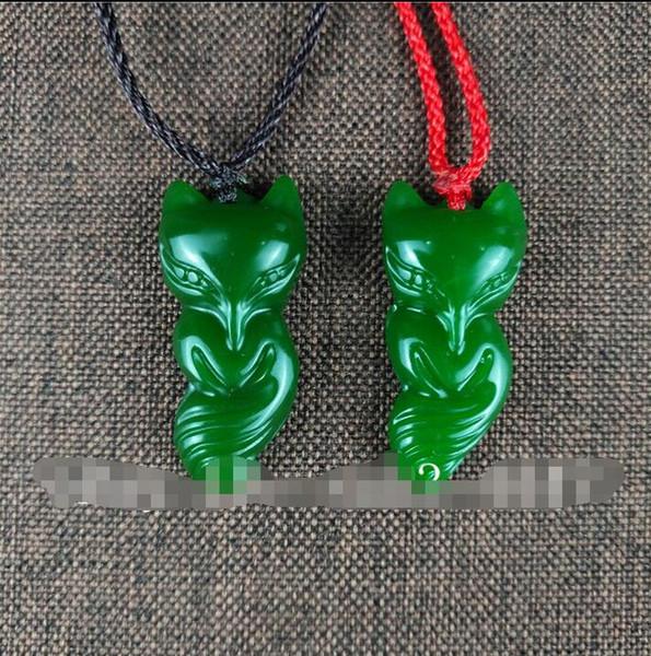 Chinese Green Jade Fox Pendant Jadeite Necklace Fashion Amulet Charm Jewellery