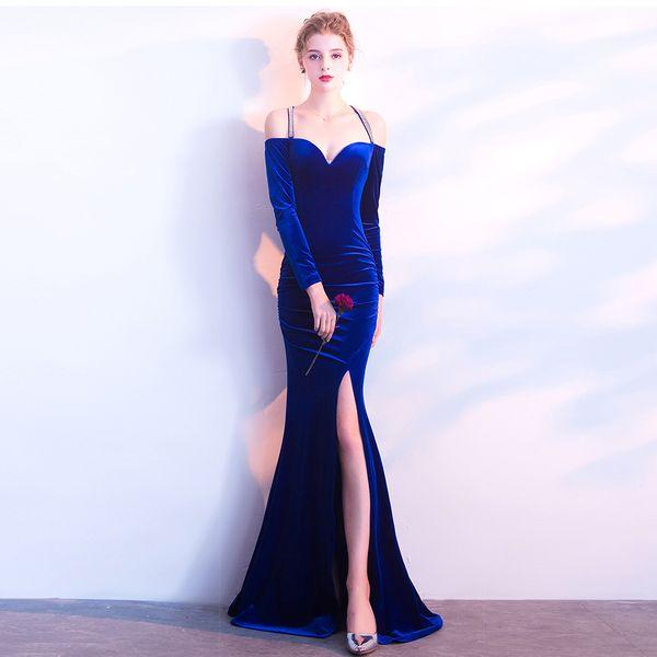 2019 Manga Comprida Spaghetti Strap Longos Vestidos de Noite Side Velvet Dividir Sereia Backless Plus Size Prom Vestidos robe de soirée Elie Saab