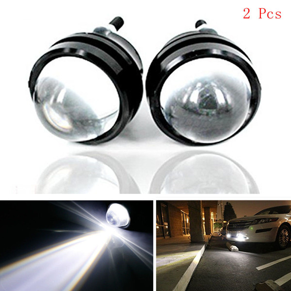 2Pcs White DC 12V 10W Daytime Running Light DRL Bull's Eye Car Led Lens Fog Lamp eagle Refit Fish eye Bulbs