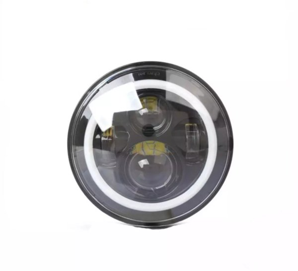 7Inch High Power 75W LED Lamps Headlights with White Halo Ring Angel Eyes and Amber Turn Signal Halo for Jeep Wrangler JK