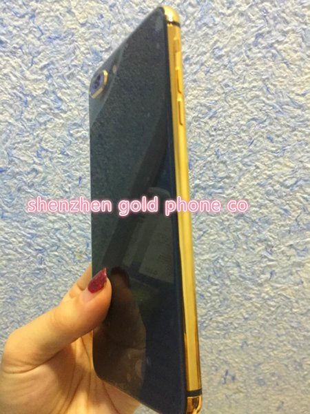 real gold side For iPhone 6 6s 7 Back Housing Like iPhone 8 Style Metal Glass Back Cover Replacement with Buttons housing to iPhone8