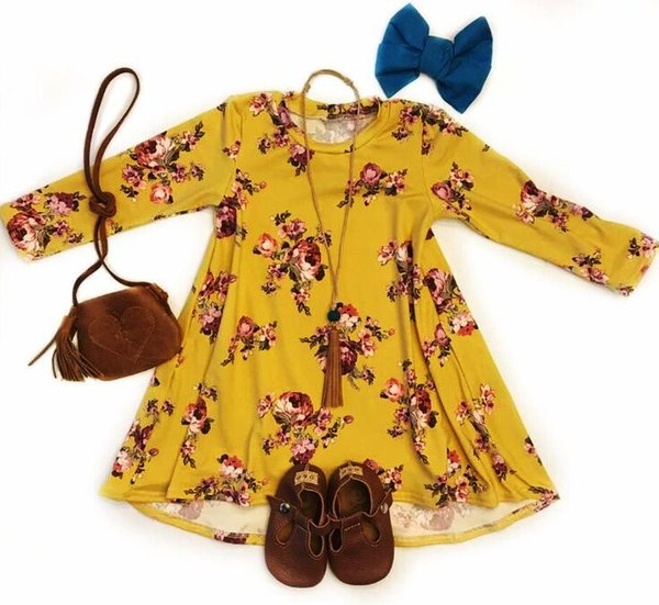 3colors Girls big flowers long sleeve dress Toddlers cute floral onepiece dress kids casual skirt outfits 1-4T