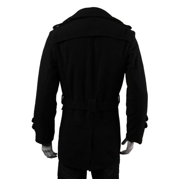 Winter Men Warm Jackets Black Grey Faux Wool Trench Men Cardigan Business Clothes Slim Fit Belted Long Coat Outwear Masculina