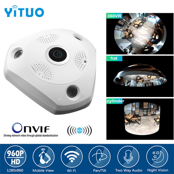 360 Degree Wireless Panoramic Camera 960P Network Wi-fi Fisheye Security IP Camera WIFI 1.3MP Video Built-in MIC Speaker YITUO