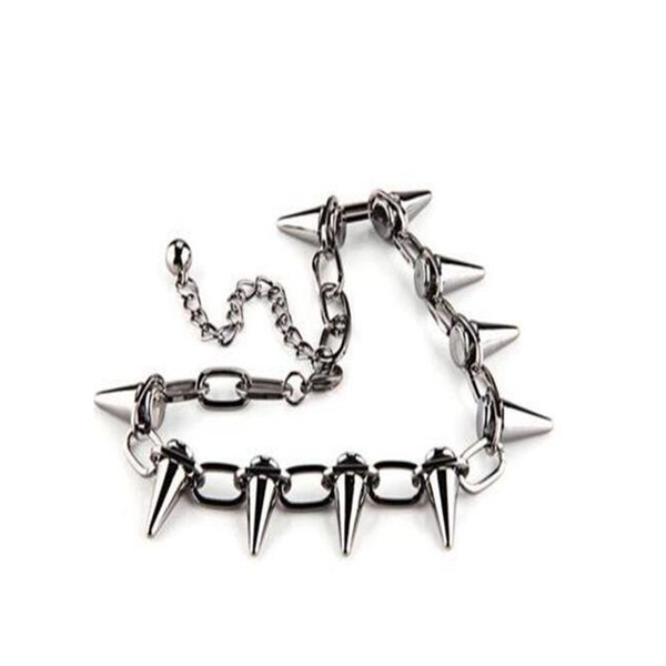 Vintage Silver Studs Pointed Rivets Necklace Pendant Personality Punk Gothic Choker Exaggeration Spike Necklace Jewelry DIY Women Gift
